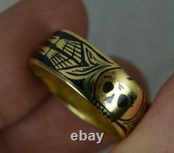 Momento Mori 18 Carat Gold and Black Enamel Skull Skeleton Ring Size L 7mm Wide