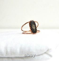 NEW Auth PASCALE MONVOISIN Mahe Ring Black Enamel Diamond Rose Gold NEW