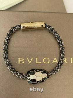 NEW Bvlgari Serpenti Black Enamel & Gold Chain Bracelet Bulgari Harrods Receipt