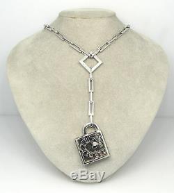 NOUVELLE BAGUE Diamond Black Enamel 18k White Gold PENDANT Necklace 1990s Italy