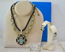 New $240 HEIDI DAUS Newport Chic Enamel 3 pc Set Necklace Pierced Earrings Black