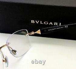 New BVLGARI Eyeglasses 2190-B 2014 53-16 Gold & Black Rimless Frames with Crystals