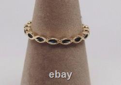 New withHinge Box Pandora 14K Gold Royal Victorian with Black Enamel Ring 150173EN16