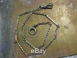 Original Antique Art Deco 14k White Gold And Black Enamel Pocket Watch Chain