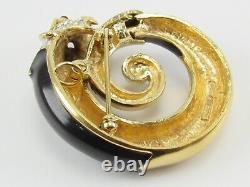 Panetta Book Piece Black Panther Enamel Rhinestone Gold Tone Pin Brooch Pendant