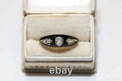 Perfect 14k Gold Natural Diamond And Black Enamel Decorated Pretty Ring
