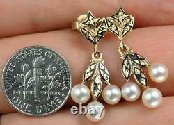 Pretty Antique Victorian 14K Gold Black Enamel Pearl Floral Dangling Earrings