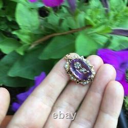 Pristine Victorian 15k Gold Amethyst Inlaid Diamond Black Enamel & Pearl Pendant
