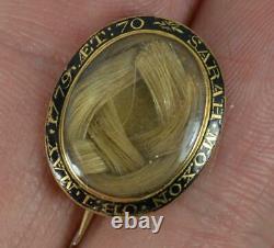 Rare 1779 Georgian 15ct Gold & Black Enamel Locket Brooch