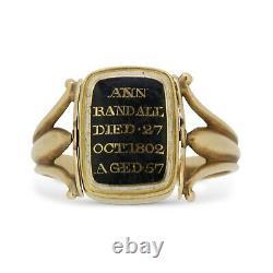 Rare 1800s Georgian Black and White Enamel Swivel Mourning Ring 15ct Yellow Gold