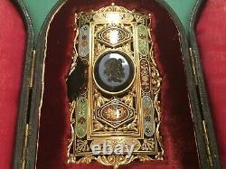 Rare Antique Enamel Hard stone Cased Enamel Jewelled Buckle 18 K Gold. Ref24520