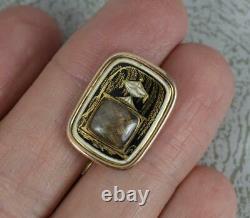 Rare Georgian Black & White Enamel and Rose Gold Mourning Urn Locket Brooch
