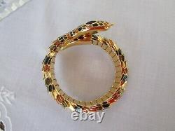 Rare Joan Rivers Snake Coil Cuff Bangle Bracelet Black Brown Enamel Gold Plated