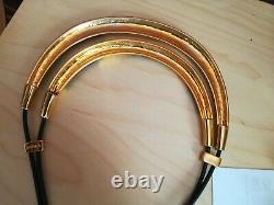 Rare Metropolitan Museum of Art MMA Gold Tone Black Enamel Modernist Necklace