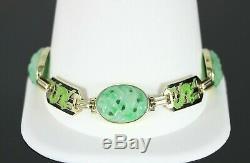 Rare Vintage R 14K Yellow Gold Black Green Jade Enamel Natural Dragon Bracelet