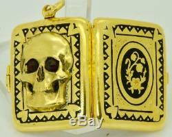Rare antique Victorian 14k gold&black enamel Memento Mori/Mourning Skull locket