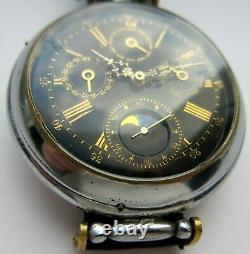 Rare wristwatch ANNUAL CALENDAR on base pocket watch, black enamel dial, 52 mm