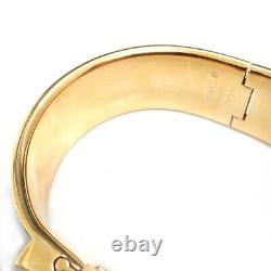 Rise-on HERMES Gold Plated Loquet Black Enamel Horse Bangle Wrist Watch #2