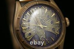 Rolex Bubbleback 6085 rose gold Cloisonné Enamel Peacock