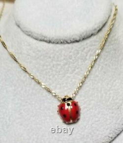 Ross Simons 14k Yellow gold red/black enamel puffy LADYBUG pendant necklace