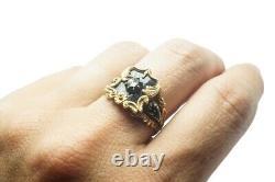 SPECTACULAR GEORGIAN ENGLISH 18K GOLD BLACK ENAMEL DIAMOND MOURNING RING c1835