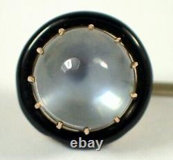 SUPERB Antique Victorian 14k Yellow Gold 8mm MOONSTONE Black Enamel Stick Pin