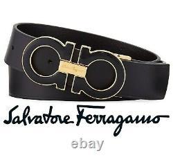 Salvatore Ferragamo Men's Large Enamel Gancini Black & Gold Buckle & Black Belt