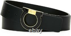 Salvatore Ferragamo Men's Oversized Single Gancio Enamel Belt, Black/Gold Sz 40