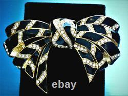 Sensational Ciner Black Enamel Clear Swarovski Crystals Gold Tone Bow Brooch Cf9