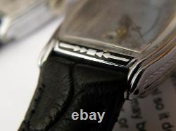 Serviced 1920`s Bulova Ambassador. Rare Black Enamel Tonneau Case Aka Windsor