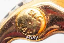 Signed SLC Designer Orange Black Enamel TIGER 14k Yellow Gold SLIDE Pendant