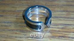 Solid 18k white gold heavy Cartier black enamel C2 ring 10.14 grams size 4.75