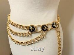 Spectacular St. John Gold Plated Chains & Black Enamel Belt