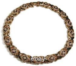 St John Crystal Rhinestone & Black Enamel Choker Length Gold Plated Necklace