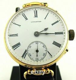 Swiss LONGINES men's wristwatch, rare mechanism, enamel dial, gold plated case