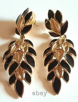 TRIFARI Black Enamel Gold-Tone Cascading Floral Bib Necklace Bracelet & Earrings