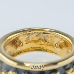Three Jaguar Panther Animal Band Ring Size 6 in 18K Yellow Gold & Black Enamel
