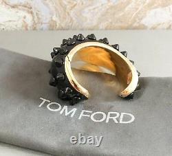 Tom Ford Enamel Gold Plated Black Spike Cuff Bangle Bracelet