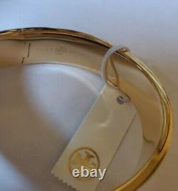 Tory Burch KIRA ENAMEL BRACELET Gemini Link Gold & Black Hinge Closure (New)