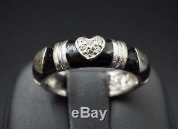 Trendy Hidalgo 18k White Gold Black Enamel Natural Diamond Ring Size 6.75 RG1050