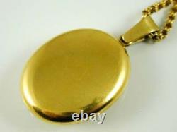 Turqouise & Black Enamel Antique Victorian Locket Necklace 18CT Gold Circa 1880s