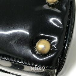 Used Chanel Triple Coco Mark Tote Bag Enamel Vinyl Black Clear Color Gold