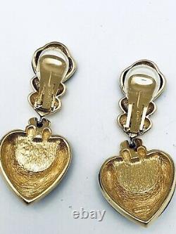VTG Christian Dior Gold Black Enamel Pearl Clip Earrings Signed Mint