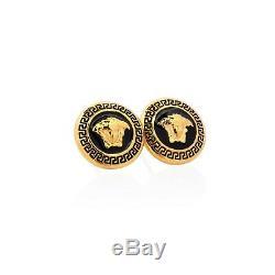 Versace earrings Gold plated medusa Black enamel Round studs Designer jewelry