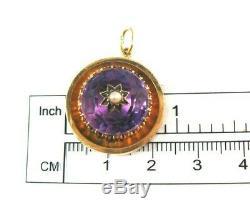 Victorian 14K Gold Amethyst Seed Pearl Black Enamel Pendant