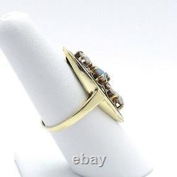 Victorian 14K Gold Fiery Blue Opal Diamond Black Enamel Navette Ring sz7