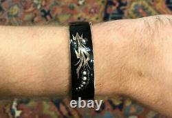 Victorian 14k Gold Black Enamel Mourning bracelet Lily Of The Valley Motif 26g