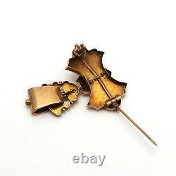 Victorian 14k Rose Gold Black Enamel Seed Pearl Dangle Brooch Pin Pendant 5gr