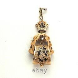 Victorian 14k Rose Gold Seed Pearl Black Floral Enamel Dangle Charm Pendant