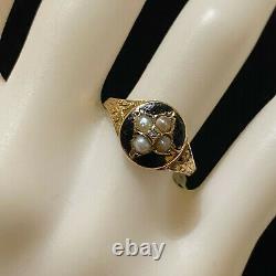 Victorian 15ct, 15k, 625 Gold, Black Enamel, Diamond & Pearl mourning, C1860